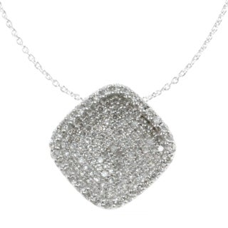 Michael Valitutti Palladium Silver Cubic Zirconia Pave Cushion-shaped Necklace