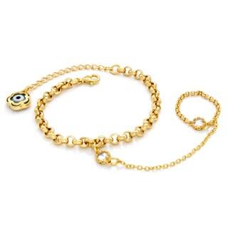 14k Goldplated Sterling Silver Cubic Zirconia Evil Eye Ring Bracelet