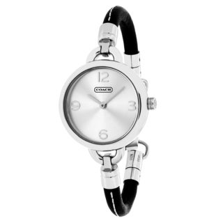 Coach Women's 14501923 Penny Round BLack Leather Strap Watch