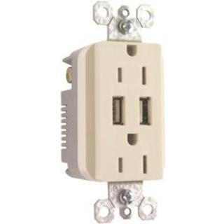 Pass & Seymour USB Charger with Duplex Decorator Tamper-Resistant Rec