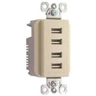 Pass & Seymour Quad USB Charger, Ivory