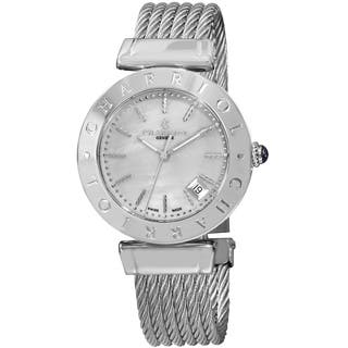 Charriol Women's AMS.51.002 'Alexandre C' Mother of Pearl Dial Stainless Steel Bracelet Quartz Watch|https://ak1.ostkcdn.com/images/products/9971730/P17124593.jpg?impolicy=medium
