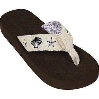 Women's Tidewater Sandals Linen Shells Natural/Navy
