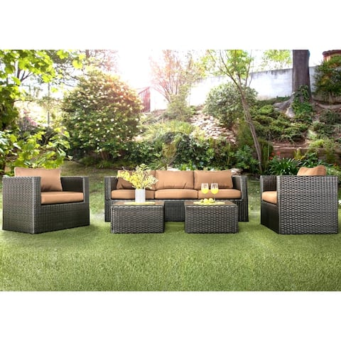 Furniture of America Stella Contemporary Brown 5-piece Outdoor Sofa Set
