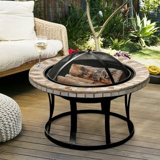 Furniture of America Noelia Round Ceramic Fire Pit