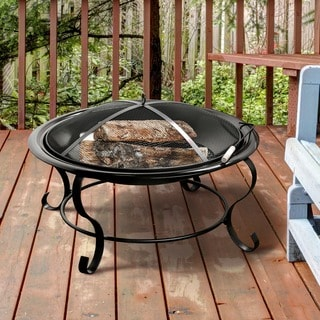 Furniture of America Singed Black Metal Fire Pit