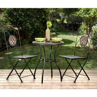 Furniture of America Braum Black 3-Piece Stone Top Cast Iron Bistro Set
