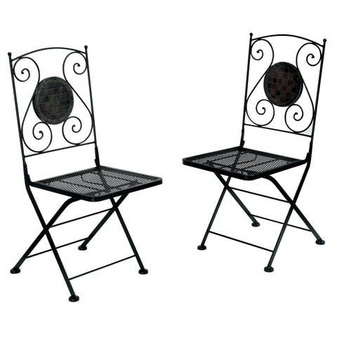 Havenside Home Eureka Black Bistro Chairs (Set of 2)