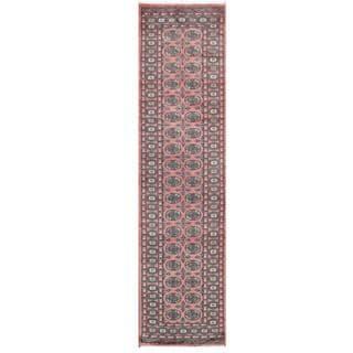 Herat Oriental Pakistani Hand-knotted Tribal Bokhara Pink/ Black Wool Rug (2'7 x 10'1)