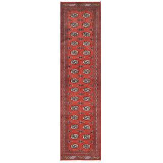 Herat Oriental Pakistani Hand-knotted Tribal Bokhara Red/ Ivory Wool Rug (2'8 x 10'2)