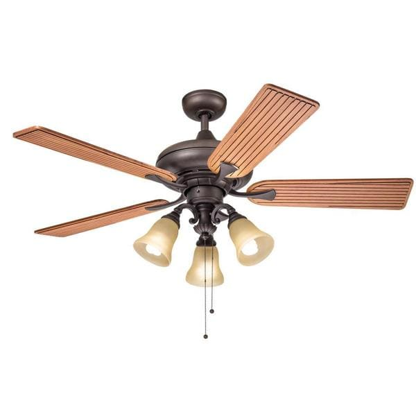 Kichler Lighting Transitional Bronze 52 inch Ceiling Fan with 3-light Kit and Carved Wood Blades