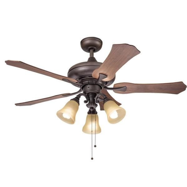 Shop Kichler Lighting Traditional Bronze 52 Inch Ceiling Fan With 3 Light Kit And Reversable