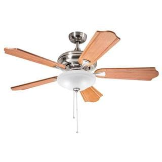 Kichler Lighting Traditional Brushed Nickel 52 inch Ceiling Fan with 2-light Kit and Carved Wood Blades