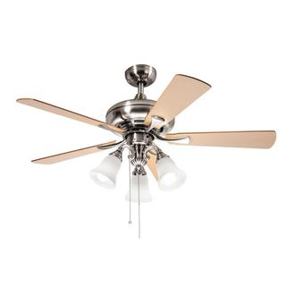 Kichler Lighting Transitional Brushed Nickel 52 inch Ceiling Fan with 3-light Kit and Reversable Blades