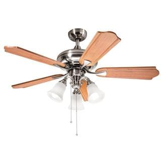 Kichler Lighting Traditional Brushed Nickel 52 inch Ceiling Fan with 3-light Kit and Carved Wood Blades
