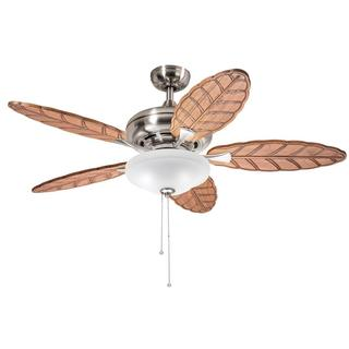 Kichler Lighting Casual Brushed Nickel 52 inch Ceiling Fan with 2-light Kit and Carved Wood Blades