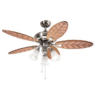 Kichler Lighting Casual Brushed Nickel 52 inch Ceiling Fan with 3-light Kit and Carved Wood Blades