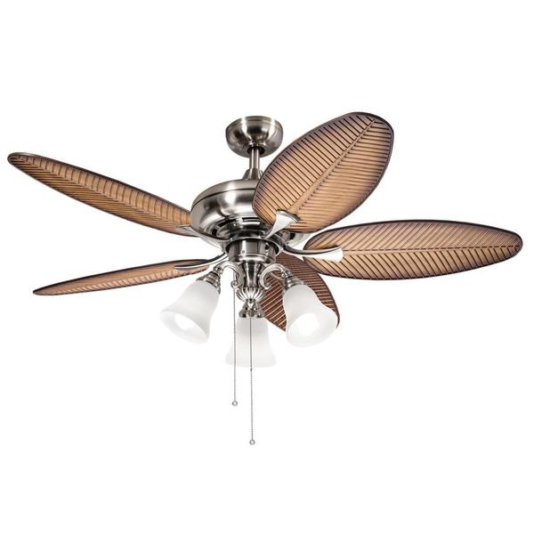 Kichler Lighting Casual Brushed Nickel 52 inch Ceiling Fan with 3-light Kit - Free Shipping ...
