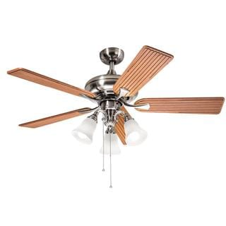 Kichler Lighting Transitional Brushed Nickel 52 inch Ceiling Fan with 3-light Kit and Carved Wood Blades