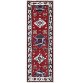 Herat Oriental Afghan Hand-knotted Tribal Kazak Red/ Ivory Wool Rug (1'11 x 6')