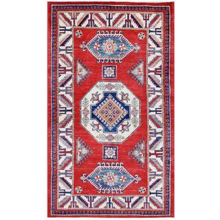 Herat Oriental Afghan Hand-knotted Tribal Super Kazak Red/ Ivory Wool Rug (3'11 x 6'9)