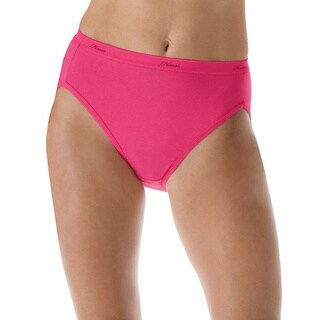 Hanes Women's Plus Cotton Hi-Cut Panties 5-Pack