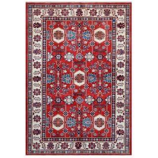 Herat Oriental Afghan Hand-knotted Tribal Super Kazak Red/ Ivory Wool Rug (5'5 x 7'8)
