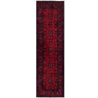 Herat Oriental Afghan Hand-knotted Tribal Khal Mohammadi Red/ Black Wool Rug (2'8 x 9'5)