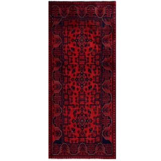 Herat Oriental Afghan Hand-knotted Tribal Khal Mohammadi Red/ Black Wool Rug (2'8 x 6'4)