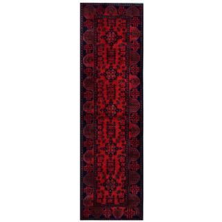 Herat Oriental Afghan Hand-knotted Tribal Khal Mohammadi Red/ Black Wool Rug (2'9 x 9'5)