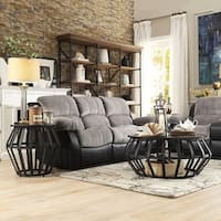Bentwood Metal Frame Round Cage Slate 2-piece Occasional Table Set by iNSPIRE Q Classic