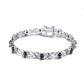Collette Z Sterling Silver Black and White Cubic Zirconia 'X' Design Bracelet