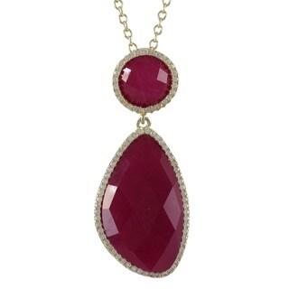 Luxiro Goldtone Sterling Silver Semi-precious Gemstone Cubic Zirconia Necklace