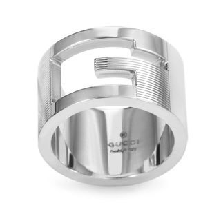 "Gucci Sterling Silver ""G"" Cutout Band Ring"