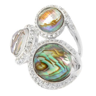 Sterling Silver Checkerboard-cut Abalone Doublet & White Topaz Ring