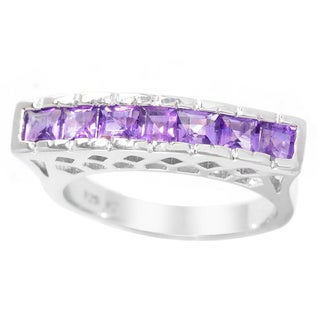 Sterling Silver 3 mm Square Gemstone Flat Top 7-Stone Band Ring