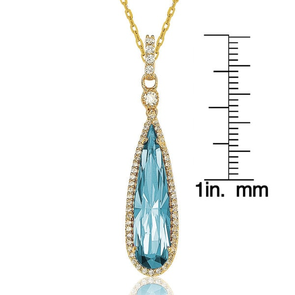 Suzy L. Goldtone Sterling Silver Elongated Pear-cut Cubic Zirconia Necklace