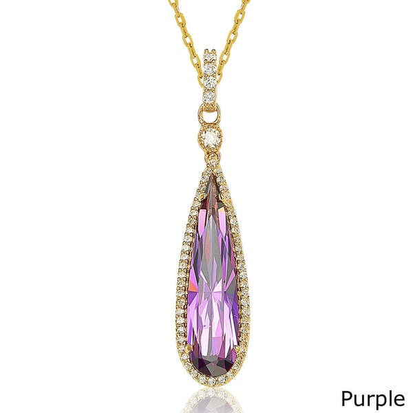 Suzy L. Goldtone Sterling Silver Elongated Pear-cut Cubic Zirconia Necklace. Opens flyout.