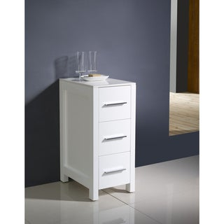 "Fresca Torino 12"" White Bathroom Linen Side Cabinet"