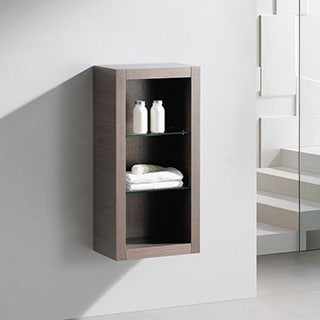 Fresca Grey Oak Bathroom Linen Side Cabinet with Glass Shelves