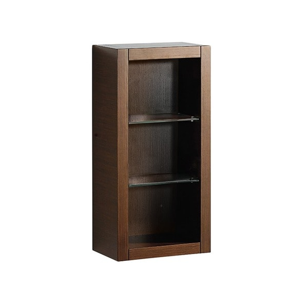 Shop Fresca Wenge Brown Bathroom Linen Side Cabinet With Glass Shelves