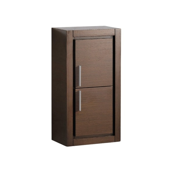 fresca wenge brown bathroom linen side cabinet with 2 doors free