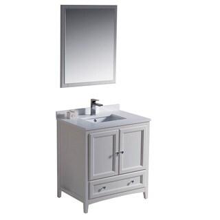 Fresca Oxford 30-inch Antique White Traditional Bathroom Vanity