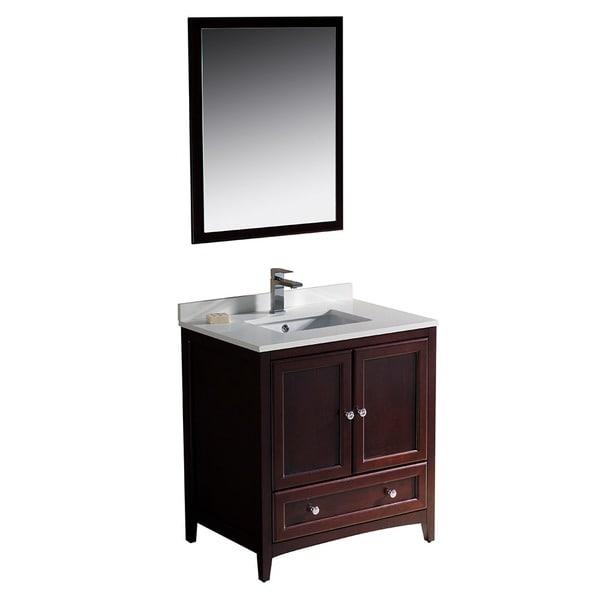fresca oxford 30-inch mahogany traditional bathroom vanity