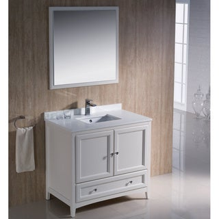 Fresca Oxford 36-inch Antique White Traditional Bathroom Vanity