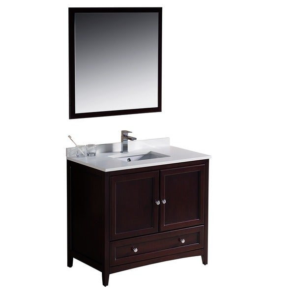 shop fresca oxford 36 inch mahogany traditional bathroom vanity free shipping today. Black Bedroom Furniture Sets. Home Design Ideas