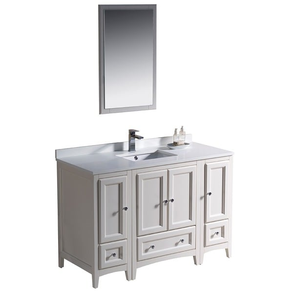 Fresca Oxford 48 Inch Antique White Traditional Bathroom Vanity With 2 Side Cabinets Free