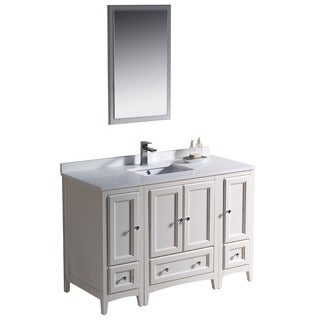 Fresca Oxford 48-inch Antique White Traditional Bathroom Vanity with 2 Side Cabinets
