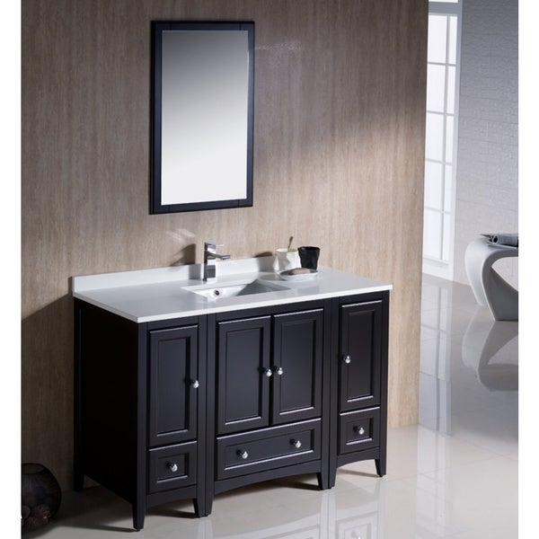 Shop Fresca Oxford 48-inch Espresso Traditional Bathroom Vanity With 2 Side Cabinets