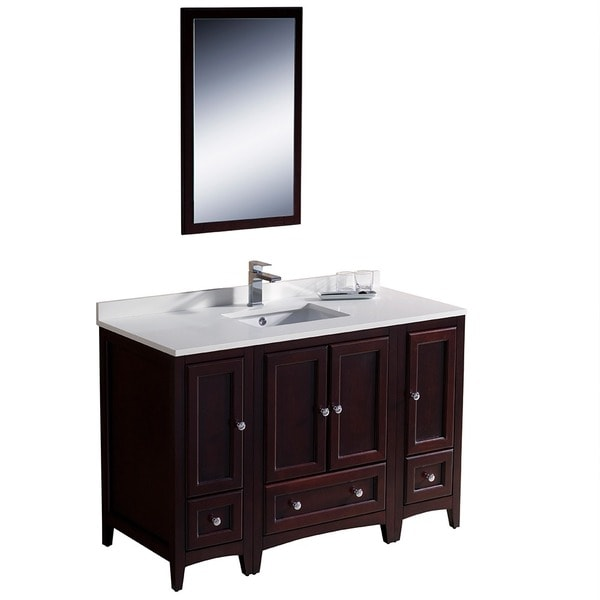 48 inch mahogany traditional bathroom vanity with 2 side cabinets
